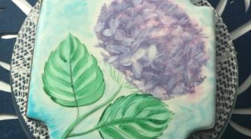 Как быстро украсить пряник и нарисовать цветок гортензии пищевыми красителями