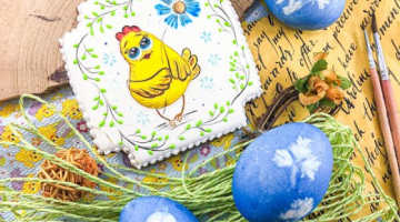 Пряничная открытка цыплёнок к Пасхе. Как нарисовать глазки на прянике