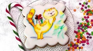 Роспись новогоднего пряника кистью по глазури пищевыми красками