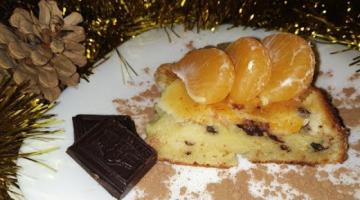 Шарлотка с мандаринами и шоколадом