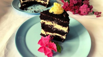Шоколадный Торт. Шоколадный Бисквит на Кипятке. Сметаный Крем//Выпечка к Чаю на Скорую руку