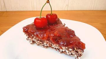 Торт из черешни без духовки! Десерт с шоколадом и воздушным рисом в холодильнике!