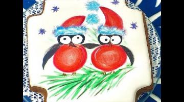Зимний пряник со снегирями / роспись пищевыми красителями по айсингу/глазури